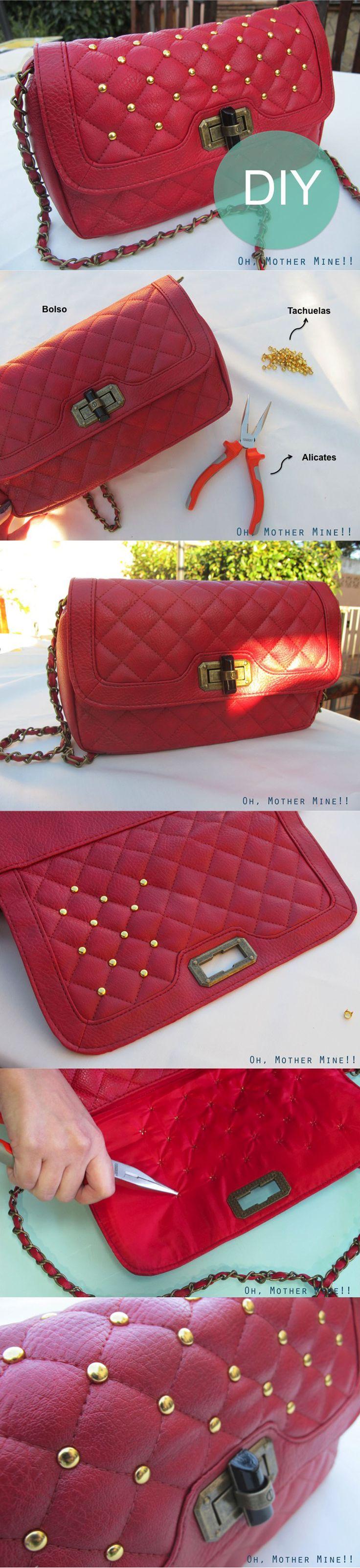 #Infografia #DIY #Bolso Vintage con tachuelas DIY Vintage Studded Handbag    http://ohmothermine.blogspot.com.es/2013/01/diy-bolso-tachuelas-vintage-diy-vintage.html