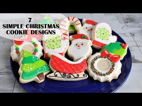 CHRISTMAS DECORATED COOKIES, SIMPLE DESIGNS FOR BEGINNERS, HANIELA'S - YouTube