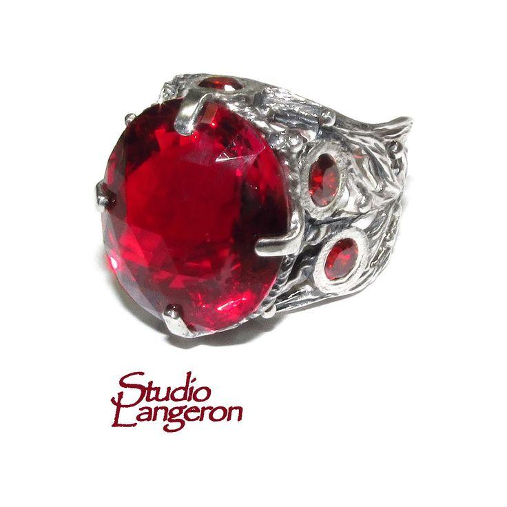 Red topaz ring <b>925 sterling silver</b> size 8 1/2, <b>100</b>% handmade ...