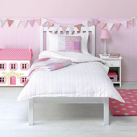 Buy little home at John Lewis Pyjama Stripes Flannelette Single Duvet Cover and Pillowcase Set, Pink Online at johnlewis.com