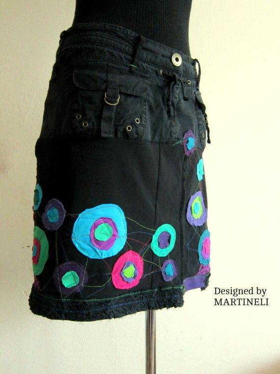 Black Embroidered Skirt Recycled Denim Upcycled Clothing  Boho