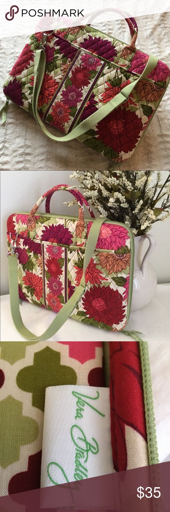 """Vera Bradley laptop carry case Beautiful Vera Bradley laptop case- will accommodate 15"""" laptop, has adjustable balance bar to assure laptop stays secure. Used for 2 weeks (then had to use my employers logo case only🙁). Vera Bradley Bags Laptop Bags"""