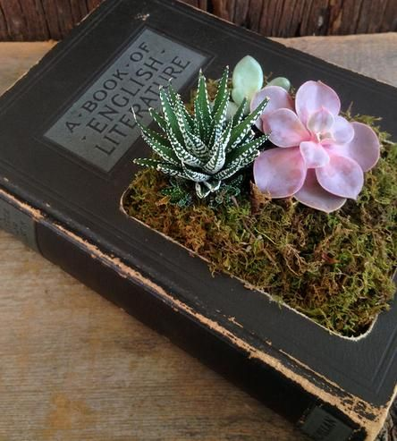 Upcycled Hardcover Book Planter, No. 17