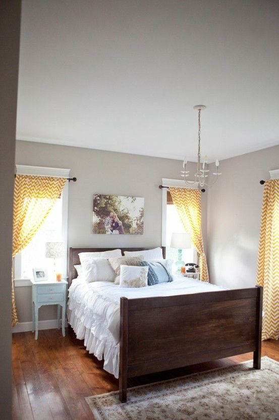 Color for my roomWall Colors, Guest Bedrooms, Grey Wall, Simple Master Bedrooms, Bedroom Furniture Sets, Dark Blue And Yellow Bedrooms, Dark Bedrooms, Guest Rooms, Chevron Curtains