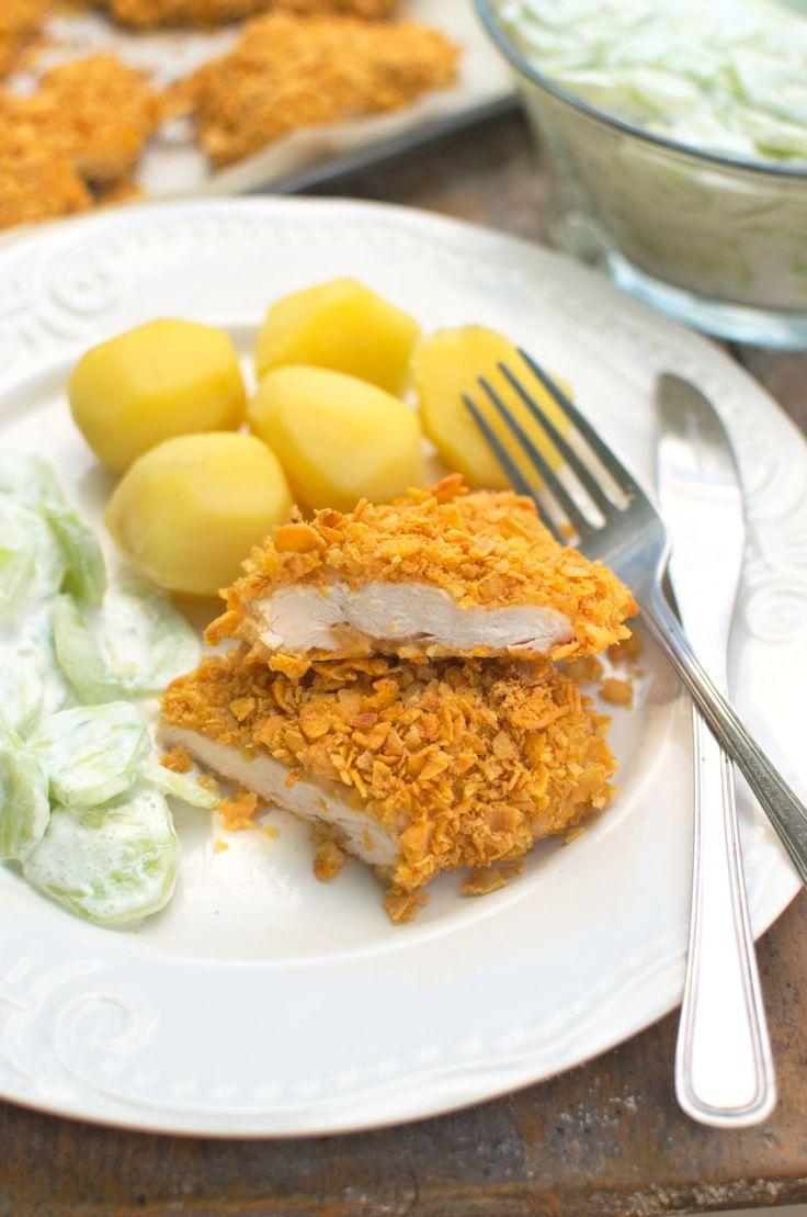 Kotlety z kurczaka w płatkach kukurydzianych