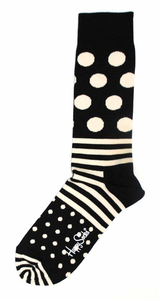 Black White Stripe Polka Dot Mens Dress Sock - Happy Socks *Dress socks that pair with black suit