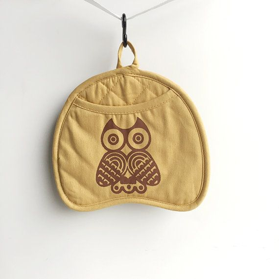 Owl Pot Holder Mitt Mustard Yellow and Brown  by GingersnapPress