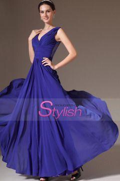 2014 V Neck Pleated Bodice Lace Back Column Prom Dress With Ruffled Chiffon Skirt $ 159.99 STP2F8M9FT - StylishPromDress.com