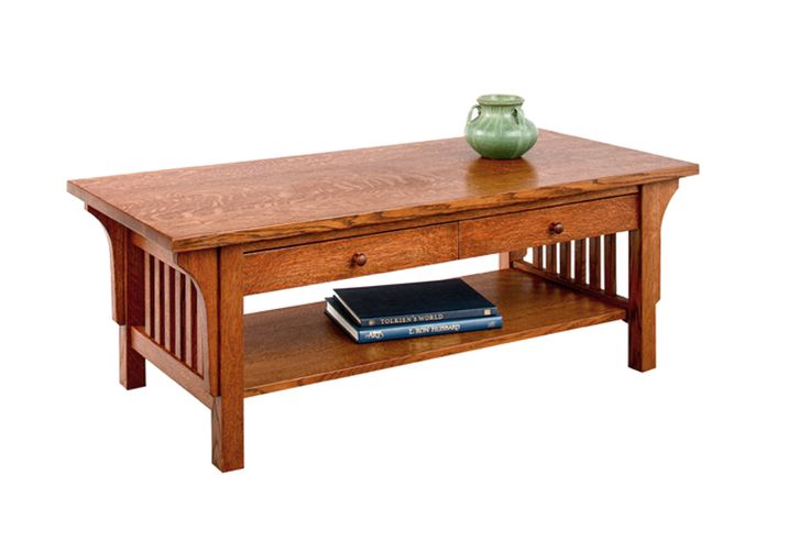 Crofters Coffee Table with drawers in 1/4-sawn white oak with an English Oak Stain