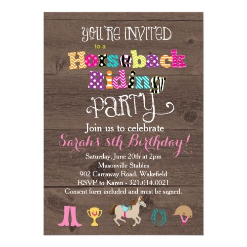 Best Horse Or Pony Birthday Invitations Images On Pinterest - Horseback riding birthday invitation