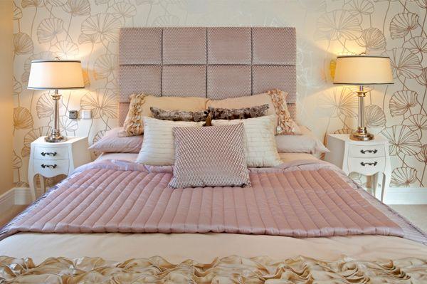 nice headboards - room pastel pink n gold