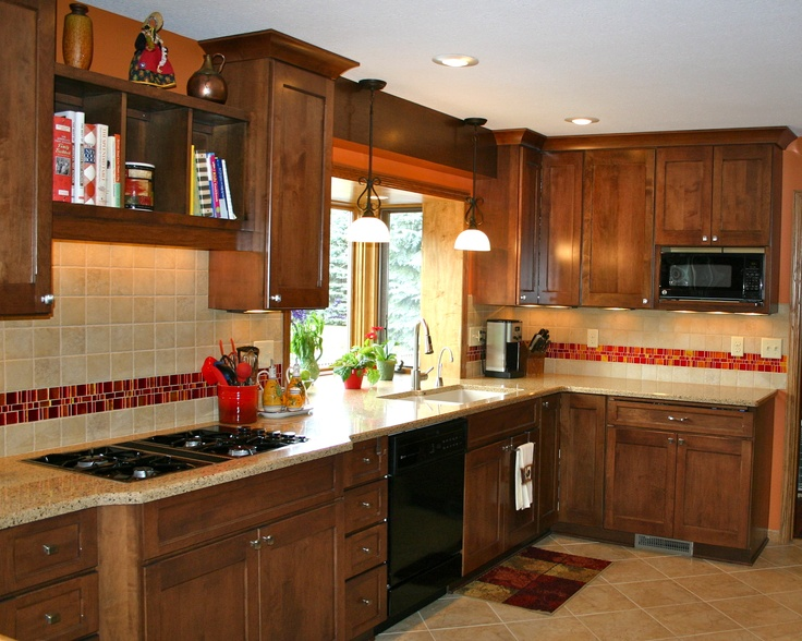 love the red tile backsplash accent kitchens
