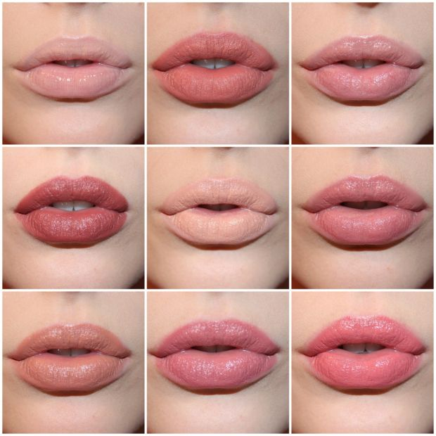 Shown above are the nudes. Top to bottom, left to right we have NYX Butter Gloss in Fortune Cookie, NYX Soft Matte Lip Creme in Stockholm, NARS lipstick in Cruising, NARS lipstick in Pigalle, MAC lipstick in Myth, NARS lipstick in Dolce Vita, MAC lipstick in Cherish, NYX Butter Lipstick in Pops, and MAC lipstick in Fanfare.