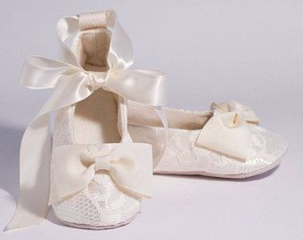 Ivory Lace Baby, Toddler Shoe Little Girls Ballet Slipper, 23 more colors Wedding Shoe, White Flower Girl Ballet Flat, Baby Souls Baby Shoes