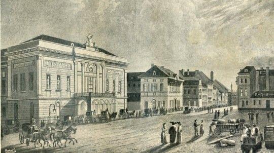 A Pesti Magyar Színház homlokzata 1840-ben.