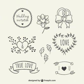 Hand getekende bloemen elementen voor bruiloft