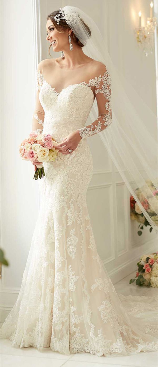 stella york mermaid wedding dresses with long lace sleeves style 61