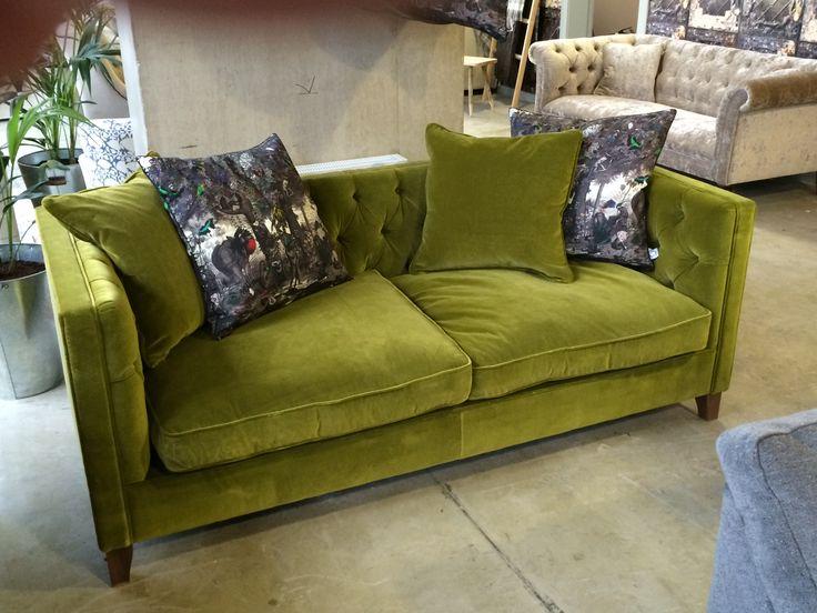 Haresfield Green Velvet Sofa #sofasandstuff #interiordesign #velvetsofa