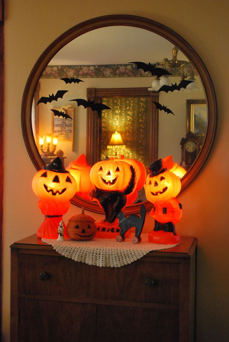 a vintage lighted plastic halloween pumpkin collection