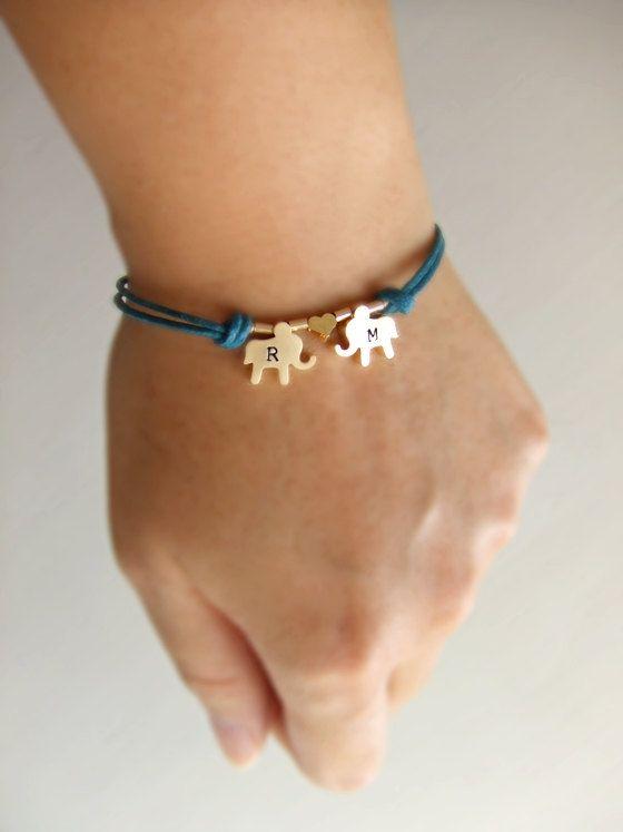 Elephants Jewelry Bracelet, Initialized Personalized Jewelry,$28.00, via Etsy.