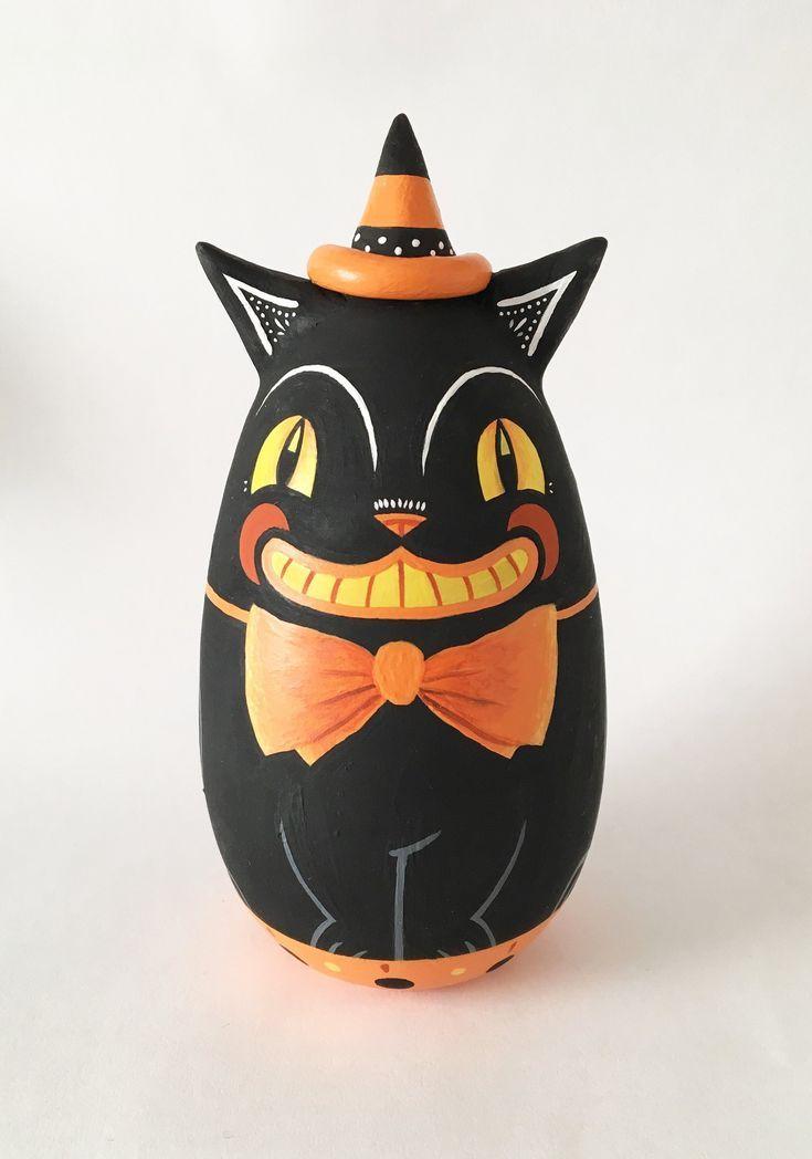Painted Halloween Decor Black Cat Peg Doll Halloween Decorations