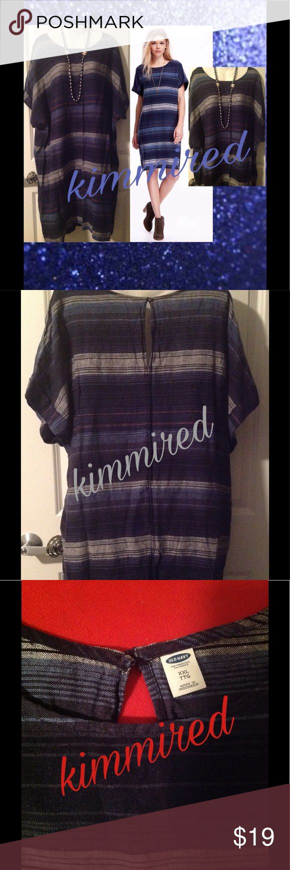 🆕 Old Navy Blue Striped Linen Dress ~ XXL ~ NWOT 🆕 Old Navy Blue Striped Linen Dress ~ XXL ~ NWOT ✔️ 🛰 new without tags 🛰 shirt sleeve 🛰 woven print 🆒 stripe linen dress 🛰 keyhole back  Necklace❌NOT❌ included‼️  🚫🚭 No smoking 🚫🚭 🚫🐶🐱 No pets 🚫🐶🐱 Old Navy Dresses Mini