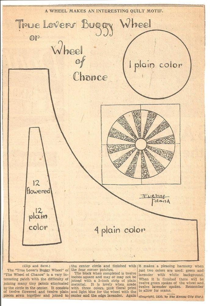 True Lovers Buggy Wheel Chance Original Newspaper Kansas City Star Quilt Pattern