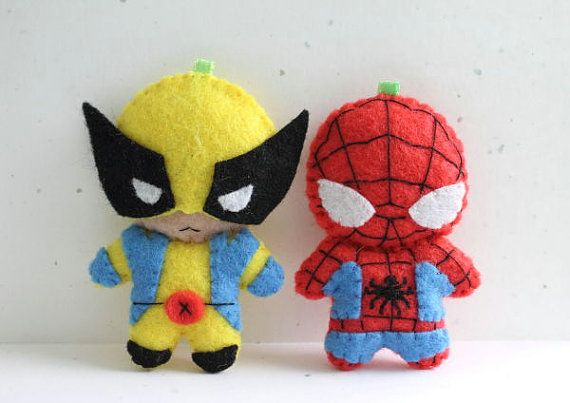 Patterns Felt Spiderman and Wolverine by typingwithtea on Etsy