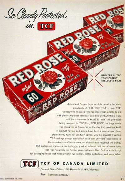 A lovely Red Rose Tea ad from 1955. I just bought a box of Red Rose, it's still going strong and they still give you a Wade figurine.