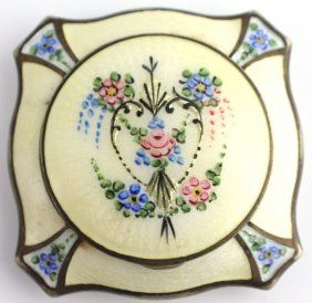 Vintage Compact with White Guilloche Enamel, Violets in Four Corners, a Heart in the Center with Roses and Violets