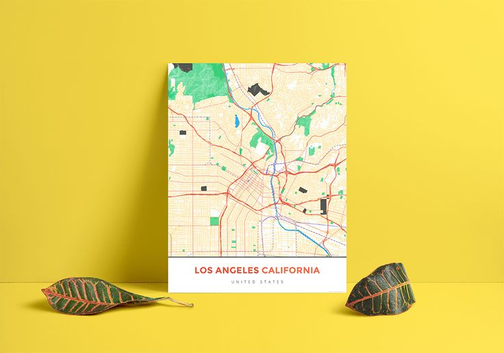 Premium Map Poster of Los Angeles California - Simple Colorful - Unframed - Los Angeles Map Art