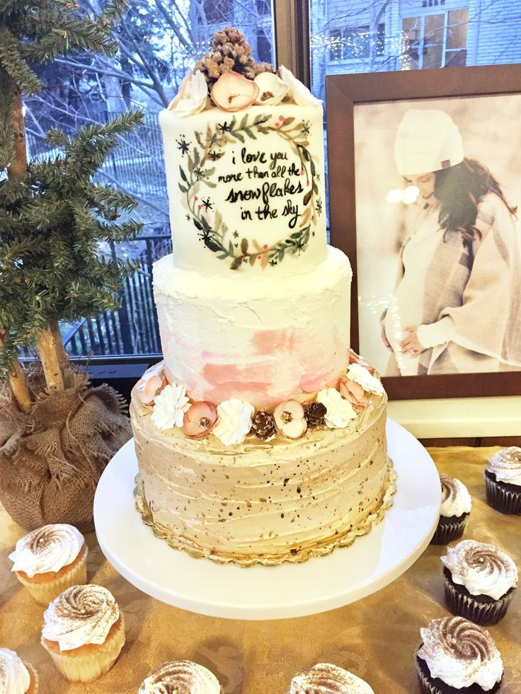 Baby Shower Winter Woodland Theme Pink Gold Tan Brown White Watercolor Speckled Cake