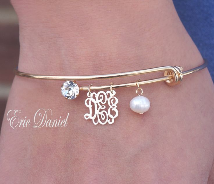 Personalized Monogram Bangle Choose Your Initials Bracelet Gold Yellow Alex And Ani