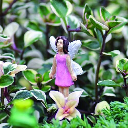 Micro Miniature Pink Fairy Figure   Fairy Garden Accessories Flower Fairies  Garden Fairies