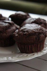 Choco-rode bieten muffins