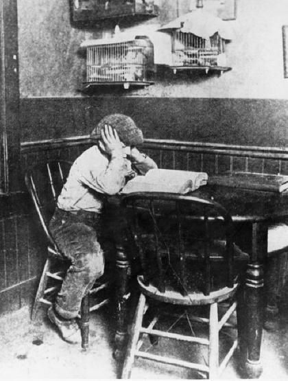 Jack London, as a child, reading