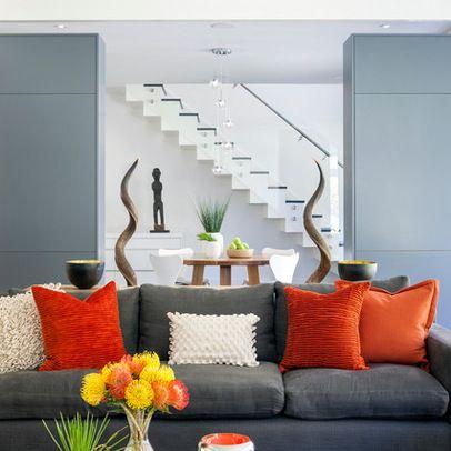 Grey green orange living room design ideas pictures - Gray and orange living room ...