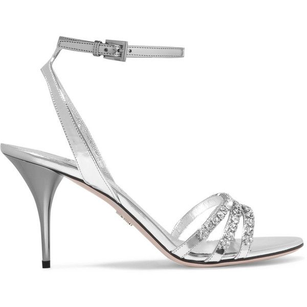 Prada Crystal-embellished metallic leather sandals ($990) ❤ liked on Polyvore featuring shoes, sandals, silver, prada shoes, monk-strap shoes, high heel shoes, strappy leather sandals and high heeled footwear