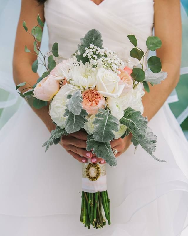 Garden Roses Dusty Miller Need We Say More For The Perfect Wedding Bouquet Photographer Bulk Wedding Flowers Online Wedding Flowers Bulk Flowers Online