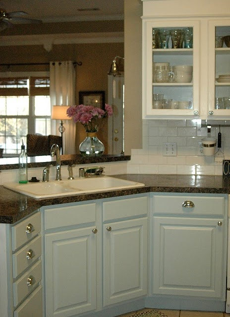 blue cabinets,white cabinets,subway tile. kitchen