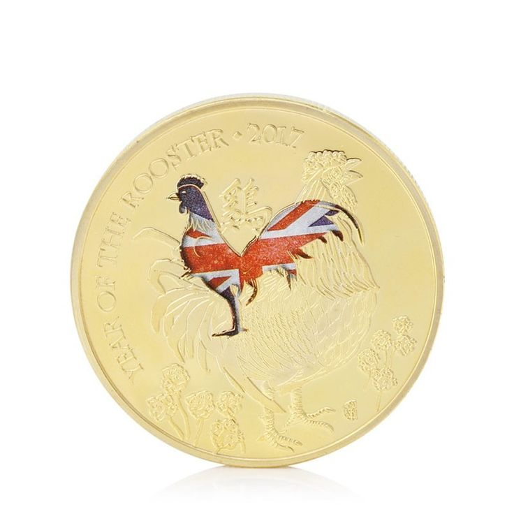 Gold Plated Year Of The Rooster Commemorative Coins Collection Collectible - Coins