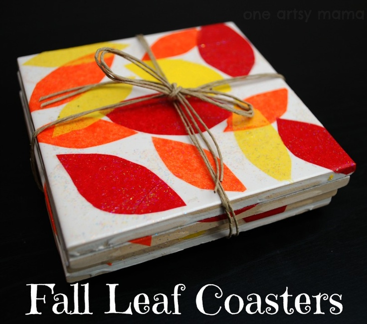 One Artsy Mama: Fall Leaf Coasters #ModPodge