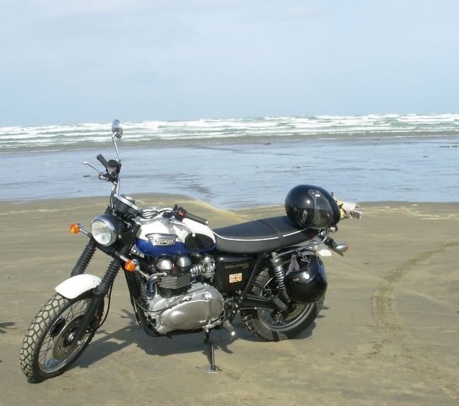 You don't need a bikini to take your Triumph Scrambler to the beach! This is Oreti Beach, where some of The World's Fastest Indian was filmed. Burt Munro did burnouts here!