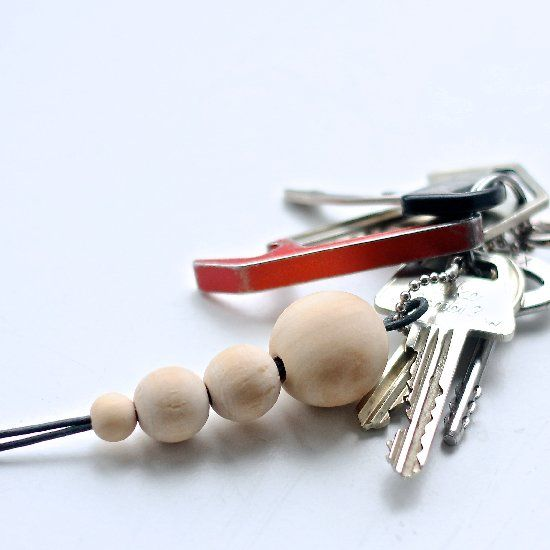 Keychain with wooden beads.