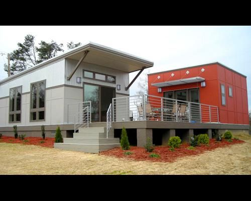 gray and orange modular homes