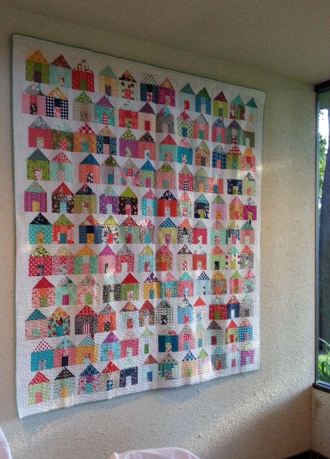 Village Quilt, house quilt, houses on quilts scrappy house quilt