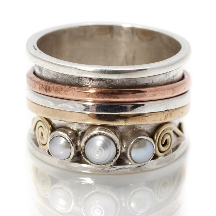Chunky Pearl Silver Spinning Rings by Charlotte's Web   Charlotte's Web