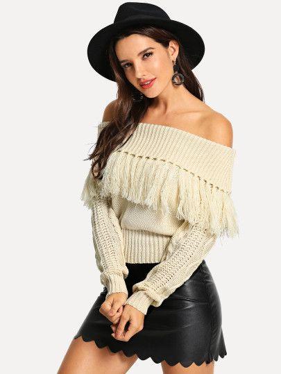 939821a588 Shop Off Shoulder Fringe Sweater online. SheIn offers Off Shoulder Fringe  Sweater   more to fit your fashionable needs.