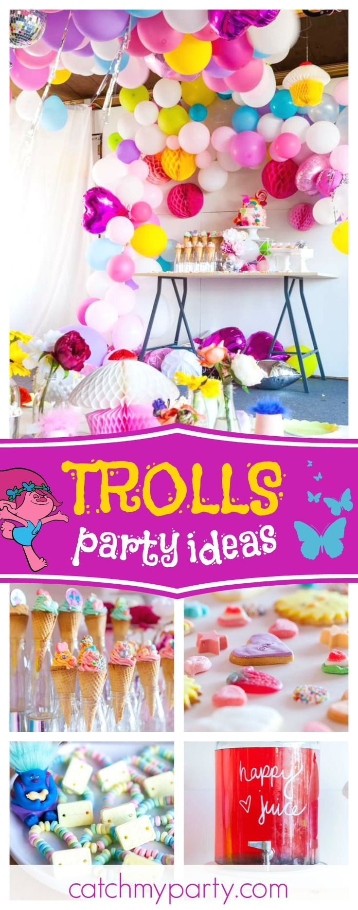Check out this incredible colorful Trolls birthday party! The balloon decorations are amazing!! See more party ideas and share yours at CatchMyParty.com #partyideas #trolls #girlbirthday