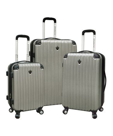 Take a look at this Silver Expandable Wheeled Hardside Luggage Set by Travelers Club Luggage on #zulily today!